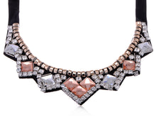 Load image into Gallery viewer, Accented Collar Necklace With And Amber Ss