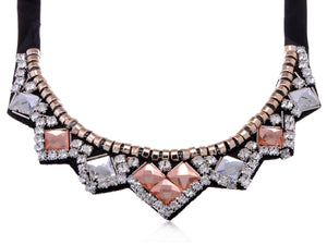Accented Collar Necklace With And Amber Ss