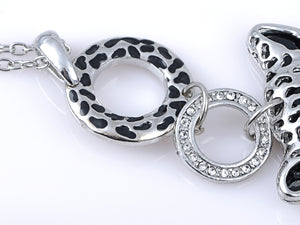 Silver Spotted Cheetah Head Face Ring Pendant Necklace