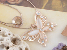 Load image into Gallery viewer, Rose Pink Alabaster Wing Double Necklace