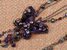 Load image into Gallery viewer, Purple Glass Beaded Butterfly Dangle Pendant Necklace