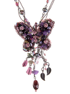 Purple Glass Beaded Butterfly Dangle Pendant Necklace