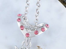 Load image into Gallery viewer, Rose Pink Holy Cross Pendant Heart Shape Necklace