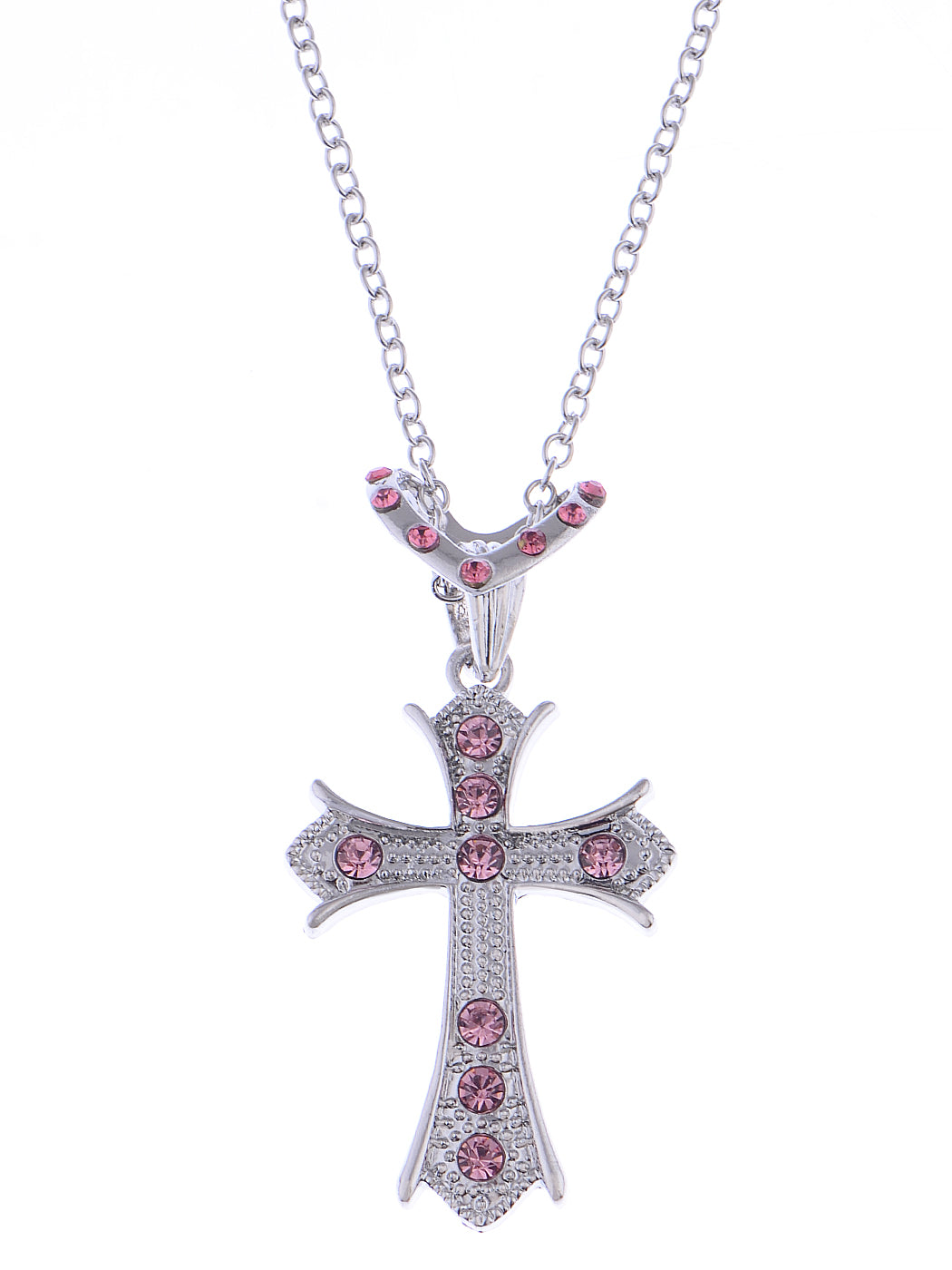 Rose Pink Holy Cross Pendant Heart Shape Necklace