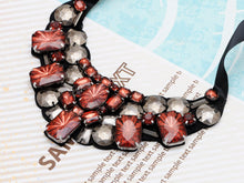 Load image into Gallery viewer, Black Brown Red Grey Gemss Tribal Statement Tie Bib Necklace