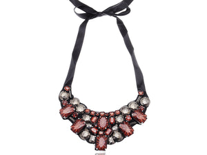 Black Brown Red Grey Gemss Tribal Statement Tie Bib Necklace