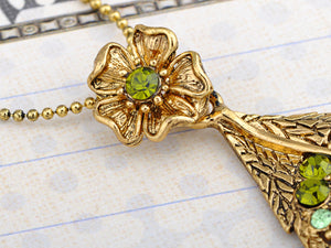 Vintage Peridot Green Dragonfly Leaf Pendant Necklace