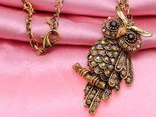 Load image into Gallery viewer, Antique Owl Bird Topaz Color Animal Pendant Necklace