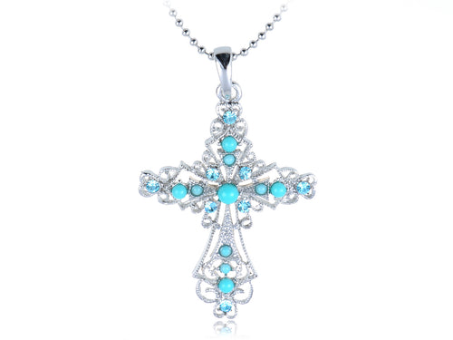 Alilang Womens Silver Tone Turquoise Blue Beaded Rhinestone Celtic Cross Pendant Necklace