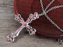 Load image into Gallery viewer, Ornate Cross Pendant Necklace White Black Blue Green Pink