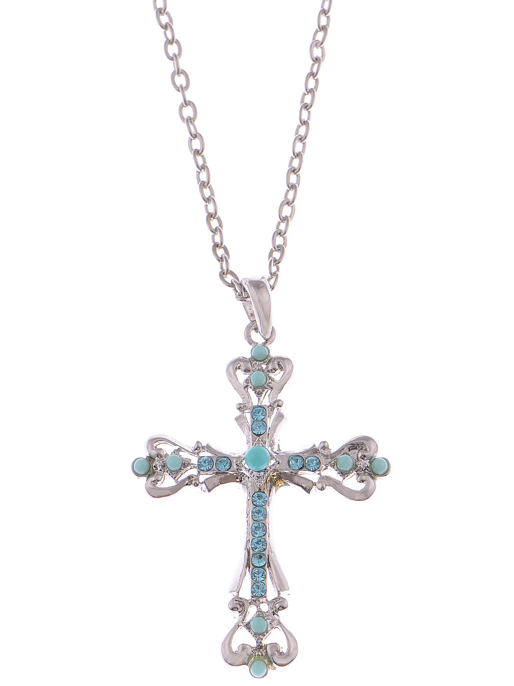 Ornate Cross Pendant Necklace White Black Blue Green Pink