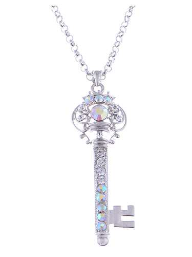 Ab Treasure Key Crown Lock Pendant Necklace