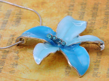 Load image into Gallery viewer, Tropical Hawaiian Fresh Flower Sky Blue Enamel Necklace Earring Set