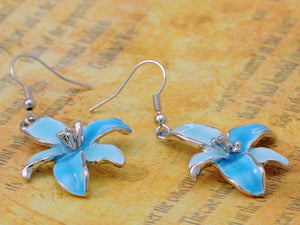 Tropical Hawaiian Fresh Flower Sky Blue Enamel Necklace Earring Set