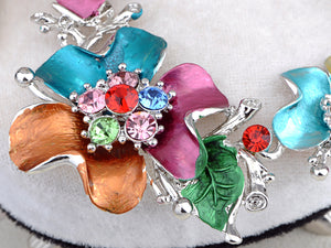 Hand Painted Pastel Exotic Flower Nature Bouquet Necklace Earring Set