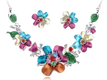 Load image into Gallery viewer, Hand Painted Pastel Exotic Flower Nature Bouquet Necklace Earring Set