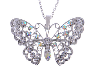 Filigree Princess Lace Winged Butterfly Ab Pendant Necklace
