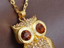 Load image into Gallery viewer, Topaz Wide Eye Owl Bird Pendant Necklace