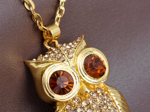 Topaz Wide Eye Owl Bird Pendant Necklace