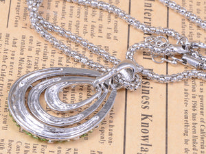 Silver Tear Drop Abstract Geometric Layered Halo Jewelry Pendant Necklace