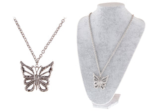 Butterfly Statement Silver Chain Necklace Pendant