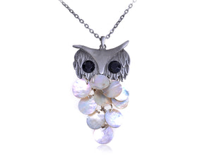 Silver Sea Shell Body Hooting Owl Brass Necklace Pendant