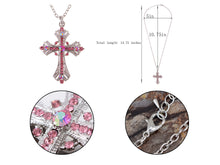 Load image into Gallery viewer, Religious Cross Pendant Necklace Aquamarine Blue Or S