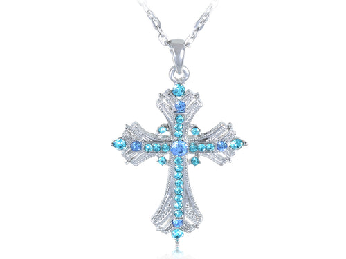 Religious Cross Pendant Necklace Aquamarine Blue Or S
