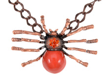 Load image into Gallery viewer, Rusty Brass Shine Red Orange Spider Queen Pendant Necklace
