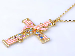 Multicolored Pink Bead Cross Pendant Necklace