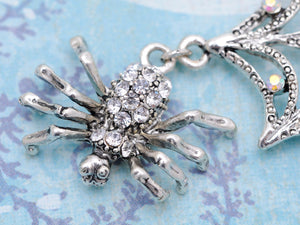 Spider Lily Web Pendant Necklace Gun Ab