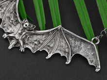 Load image into Gallery viewer, Frightening Halloween Black Enamel Paint Flying Bat Chain Necklace Pendant