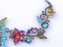 Load image into Gallery viewer, Colorful Butterfly Cluster Floral Flower Necklace Earring Set