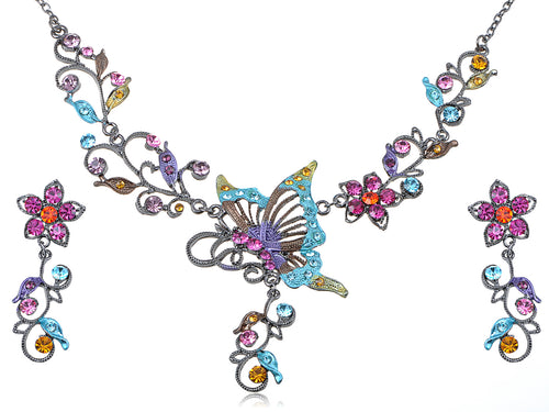 Colorful Butterfly Cluster Floral Flower Necklace Earring Set