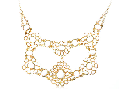 Festival Gold Tribal Ethnic White Bead Bib Sunburst Cluster Chain Floral Flower Necklace
