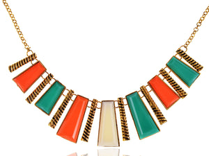 Tribal Abstract Shapes Statement Collar Necklace