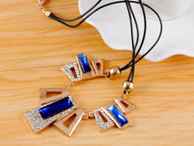 Load image into Gallery viewer, Sapphire Encrusted Geometric Shapes Necklace