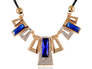 Sapphire Encrusted Geometric Shapes Necklace