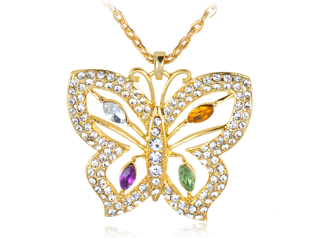 Color Glam Colorful Butterfly Pendant Necklace