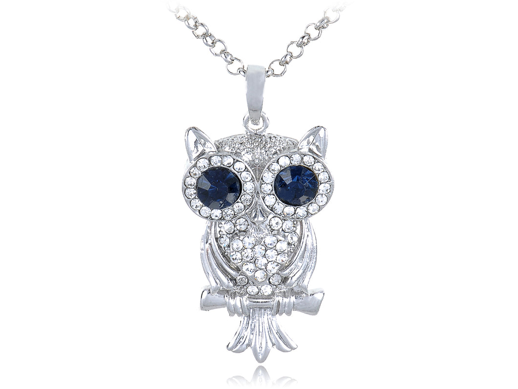 Big Blue Eyes Leaf Owl Bird Pendant Necklace