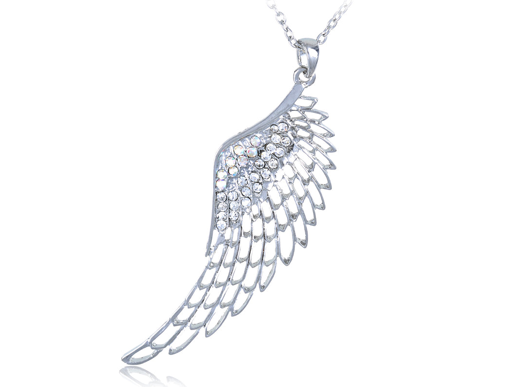 Czech Filigree Angel Bird Wing Fairy Pendant Necklace
