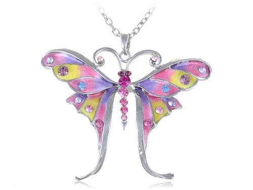 Glitter Pastel Spring Colorful Butterfly Pendant Necklace