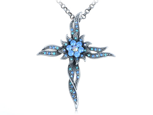 Shinely Blue Cross Sun Flower Pendant Necklace