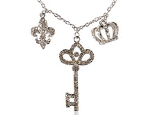 Load image into Gallery viewer, Ice Key Crown Chain Links Fleur De Lis Combination Charm Necklace Pendant