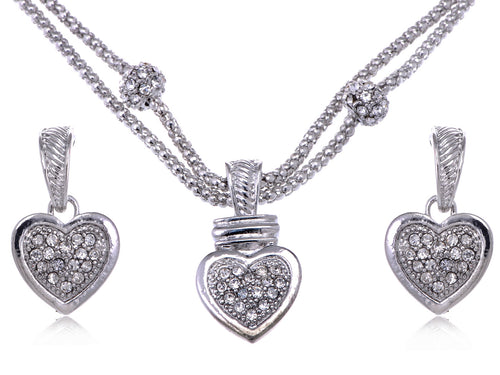 Big Full Heart Chain Rope Earrings Necklace Pendant Set