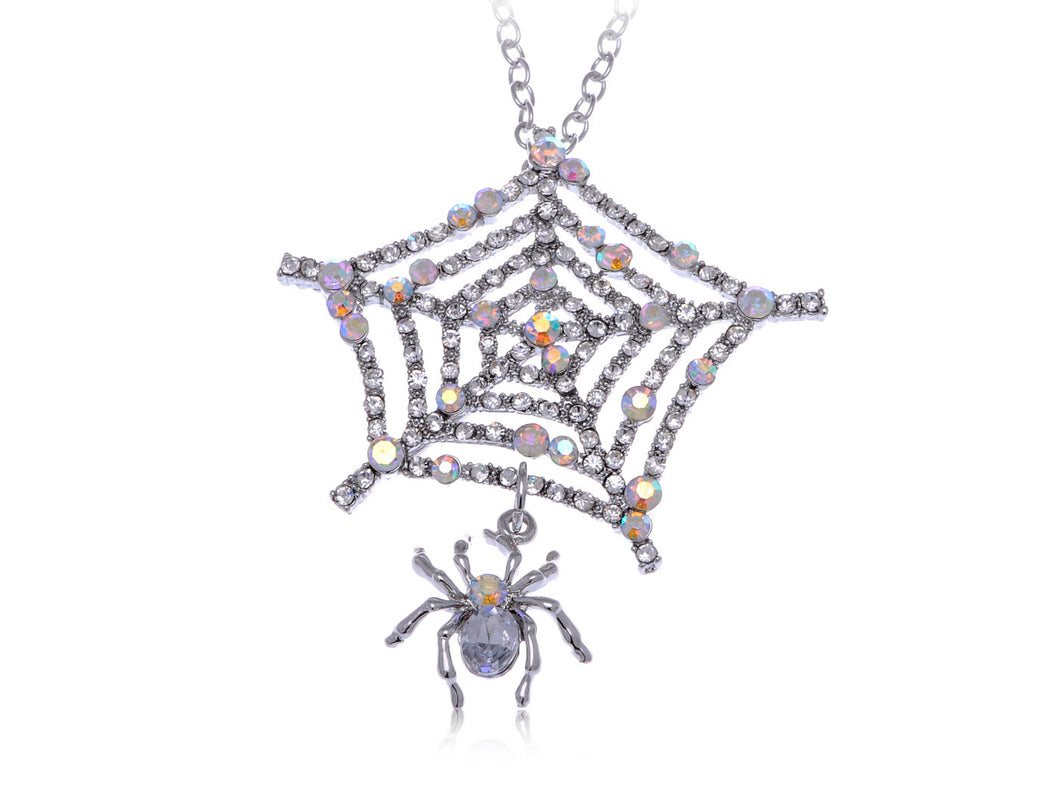 Iridescent Dangle Spider Web Pendant Necklace