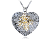 Load image into Gallery viewer, Intricate Pattern Jewel Iced Out Fleur De Lis Heart Shape Fancy Pendant Necklace