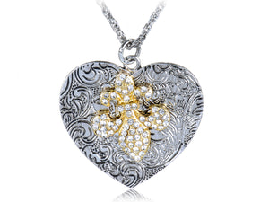 Intricate Pattern Jewel Iced Out Fleur De Lis Heart Shape Fancy Pendant Necklace