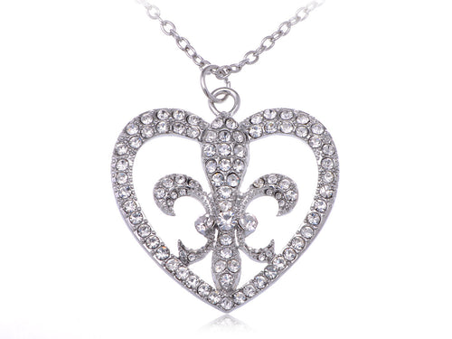 Bling Fancy Style Fleur De Lis Heart Pendant Necklace
