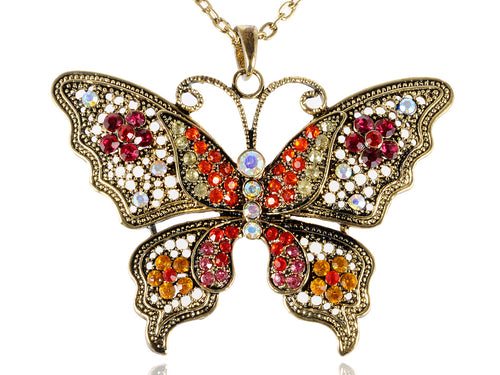 Antique Red Orange Filigree Butterfly Pendant Necklace
